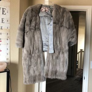 Gray over the shoulder mink wrap